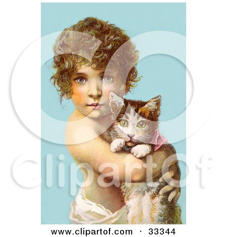 Clipart Illustration of a Little Curly Haired Victorian Child Holding A Kitten In Their Arms, Over A Blue Background by OldPixels