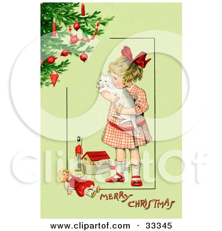 Clipart Illustration of a Little Victorian Girl Hugging Her White Cat And Standing By Toys Near A Christmas Tree, On A Green Background With Greeting Text by OldPixels