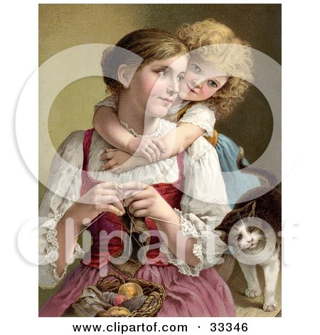 Clipart Illustration of a Little Blond Victorian Girl Hugging Her Mom From Behind As She Knits, A Cat Rubbing Against Her Arm by OldPixels
