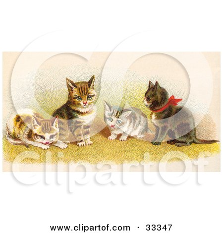 Clipart Illustration of Four Adorable Victorian Kittens In A Group, One Wearing A Red Bow by OldPixels