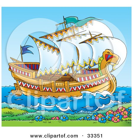 Clipart Illustration of a Historical Ship With Open Sails by Alex Bannykh