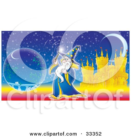 Clipart Illustration of a Magical Wizard Conducting Magic With His Wand, Near A Crystal Ball In Front Of A Castle And Crescent Moon by Alex Bannykh