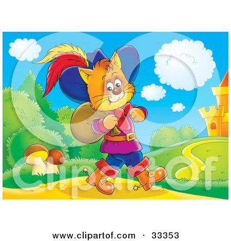 Clipart Illustration of Puss In Boots, The Cat, Strolling Near A Castle With A Sack Over His Shoulder by Alex Bannykh