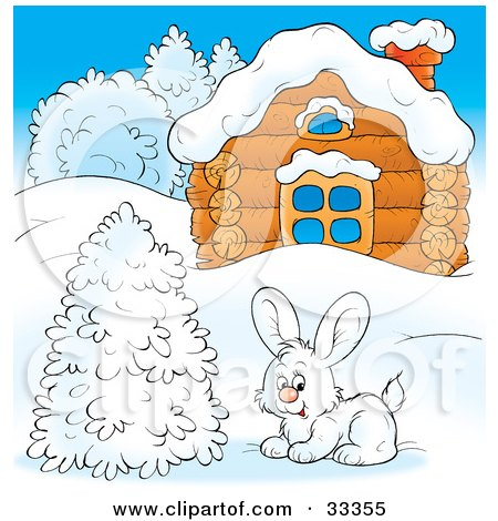 Clipart Illustration of a White Hare Near A Flocked Tree In Front Of A Log Cabin In Winter by Alex Bannykh