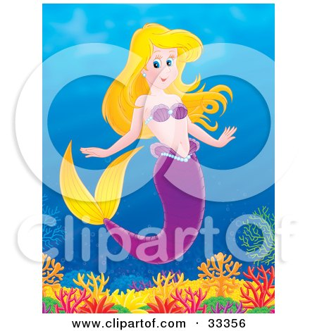 Clipart Illustration of a Blond Mermaid With A Purple, Wearing Purple Shells, Swimming Above A Coral Reef In The Sea by Alex Bannykh