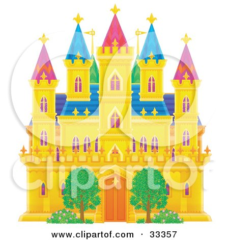 Clipart Illustration of a Two Trees In Front Of A Golden Castle With Green, Purple And Blue Roofing And Turrets by Alex Bannykh