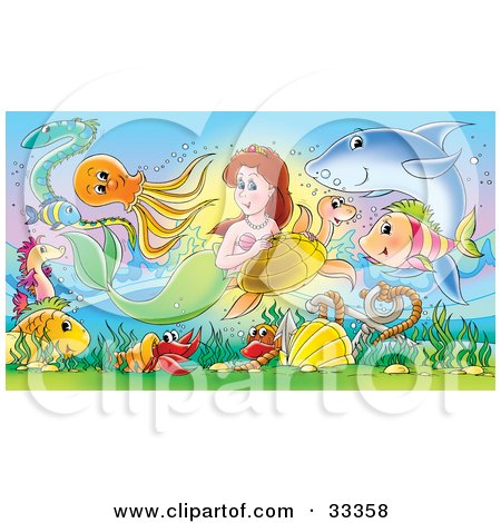 Brunette Mermaid Swimming With A Sea Turtle, Shark, Fish, And Eel Above A Hermit Crab And An Anchor In The Sea Posters, Art Prints