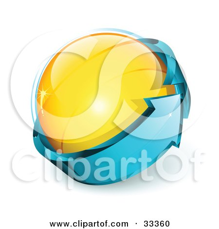 Clipart Illustration of a Yellow Glass Orb Being Circled By A Blue Arrow by beboy