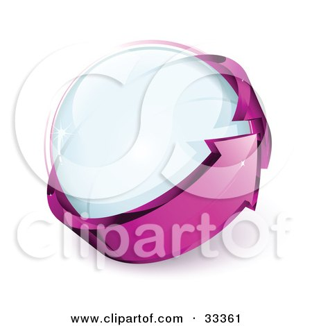 Clipart Illustration of a Glass Orb Being Circled By A Purple Arrow by beboy