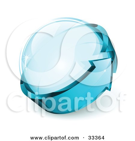 Clipart Illustration of a Glass Orb Being Circled By A Blue Arrow by beboy
