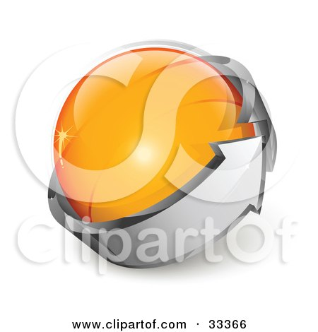 Clipart Illustration of an Orange Glass Orb Being Circled By A Gray Arrow by beboy