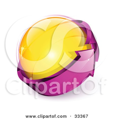 Clipart Illustration of a Yellow Glass Orb Being Circled By A Purple Arrow by beboy