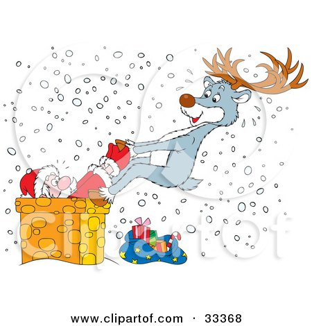 Clipart Illustration of a Reindeer Trying To Pull Santa Out Of A Chimney Of Which He Is Stuck On A Snowy Christmas Eve by Alex Bannykh