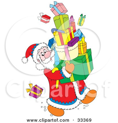 Clipart Illustration of Santa Claus Trying Not To Drop Presents While Carrying A Stack Of Gifts by Alex Bannykh