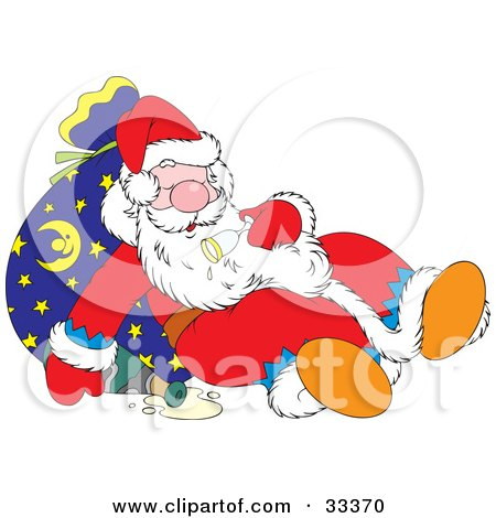 Clipart Illustration of Santa Resting Against A Toy Sack After Getting Drunk Of Of Champagne  by Alex Bannykh