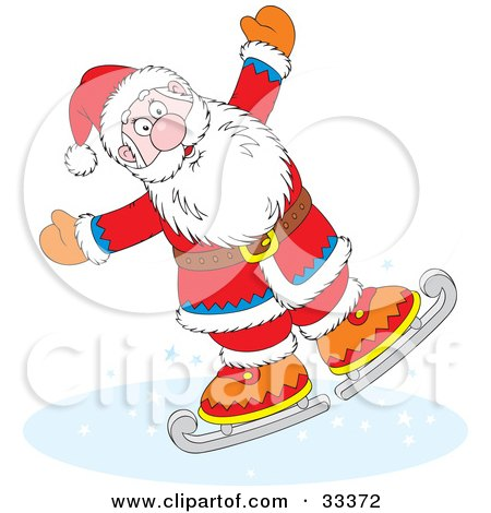 Clipart Illustration of Santa Clause Ice Skating And Holding His Arms Out by Alex Bannykh