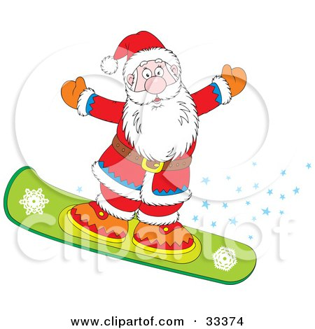 Clipart Illustration of Santa Snowboarding And Holding His Arms Out, With A Trail Of Stars  by Alex Bannykh