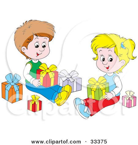 Royalty-Free (RF) Clipart of Opening Presents ...
