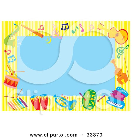 Clipart Illustration of a Blue Background Bordered By Colorful Music Notes And Instruments by Alex Bannykh