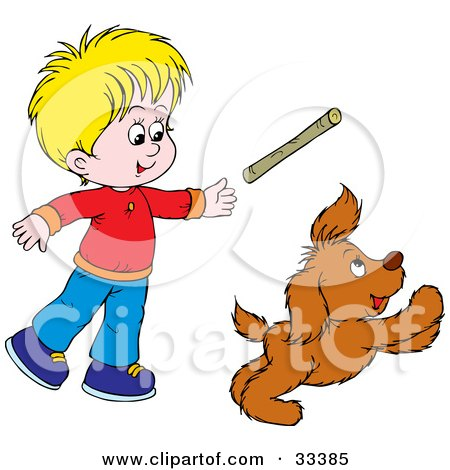 Clipart Illustration of a Little Blond Boy Throwing A Stick While Playing Fetch With His Puppy by Alex Bannykh