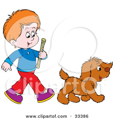 Clipart Illustration of a Red Haired Boy Carrying A Stick And Walking With His Puppy, About To Play Fetch by Alex Bannykh