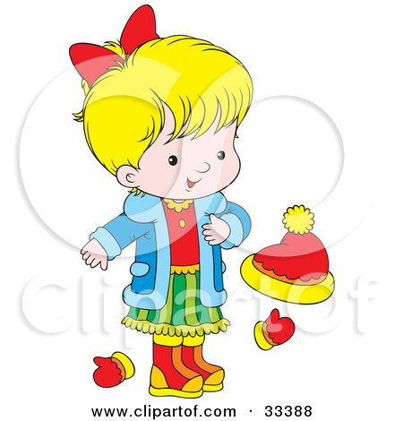 Clipart Illustration of a Little Blond Girl Wearing A Blue Jacket, Red Shirt, And Green Skirt, Standing By Mittens And A Ha by Alex Bannykh