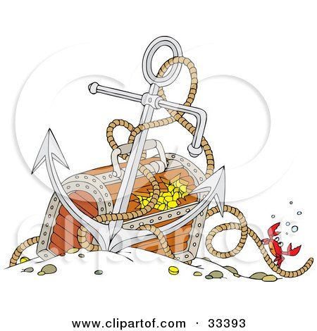 Clipart Illustration of a Crab Crawling Up The Rope To An Anchor Resting Against A Sunken Treasure Box by Alex Bannykh