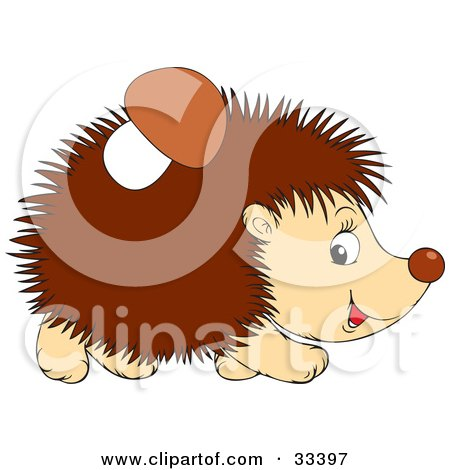 Clipart Illustration of a Mushroom Stuck To A Hedgehog's Back by Alex Bannykh