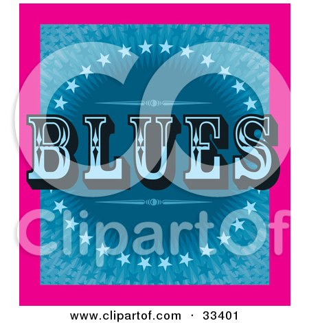 Clipart Illustration of a Pink Border Around A Background Of Blue Stars And Bursts With Retro BLUES Text by J Whitt