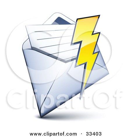 Clipart Illustration of a Lightning Bolt Over A Letter In An Open Envelope by beboy