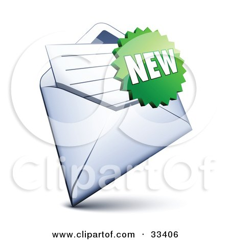 Clipart Illustration of a Green Burst Shaped New Sticker Over A Letter In An Open Envelope by beboy