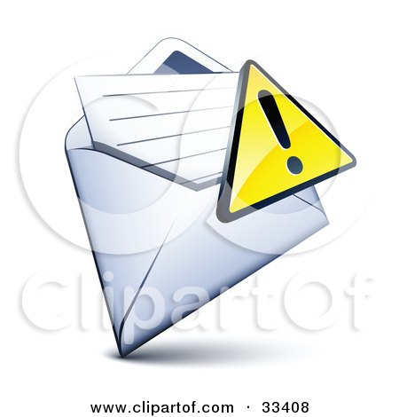 Clipart Illustration of an Exclamation Point Icon Over A Letter In An Open Envelope by beboy