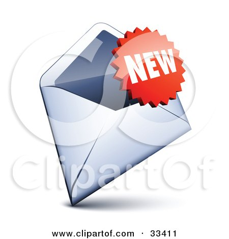 Clipart Illustration of a Red Burst Shaped New Sticker Over An Open Envelope by beboy
