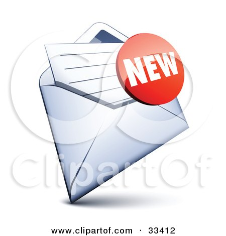 Clipart Illustration of a Red New Sticker Over A Letter In An Open Envelope by beboy