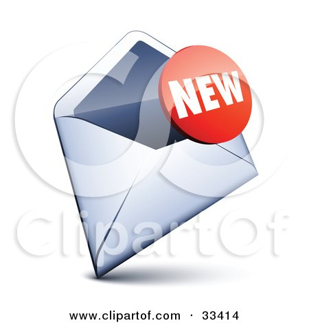 Clipart Illustration of a Red New Sticker Over An Open Envelope by beboy