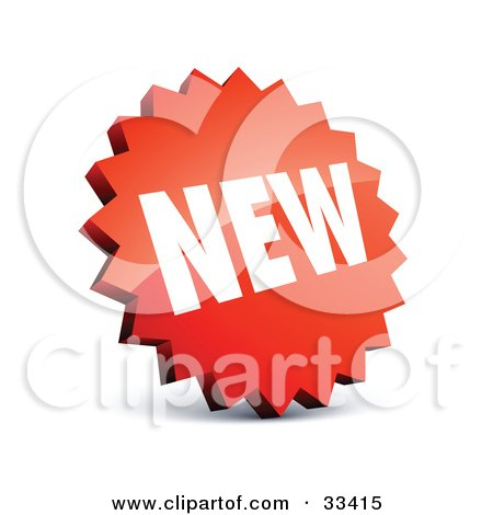 Clipart Illustration of a Circular Serrated Edged Red Label With White NEW Text by beboy