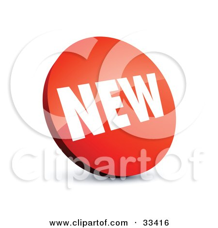 Clipart Illustration of a Circular Red Label With White NEW Text by beboy