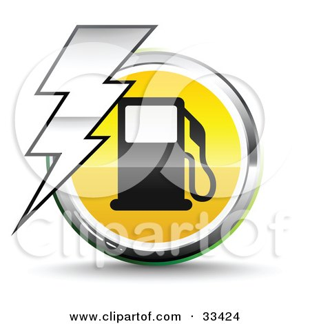Royalty-free clipart picture of a bolt of lightning over a chrome