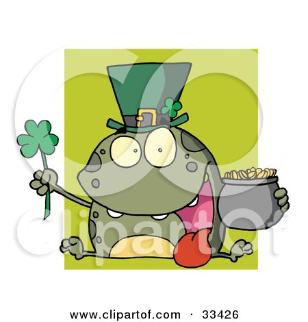 Green Leprechaun Frog Wearing A Hat, Holding A Clover And A Pot Of Gold, In Front Of A Green Square Posters, Art Prints