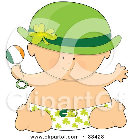 Baby In A Hat And Shamrock Diaper, Holding A Rattle And Having Fun On St Patrick's Day Posters, Art Prints