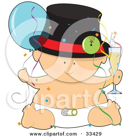 Clipart Illustration of a Baby In A Hat And Diaper, Holding A Glass Of Champagne And A Balloon, Surrounded By Confetti And Streamers At A New Years Party by Maria Bell