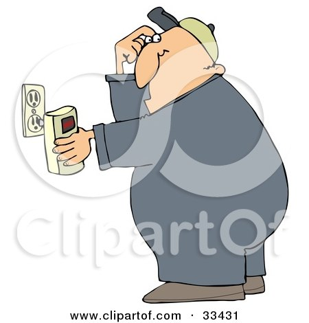 Clipart Illustration of a Man Scratching His Head While Plugging In A Detector by djart