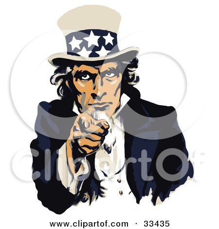 Clipart Illustration of Uncle Sam Dressed In Blue And White, Pointing Outwards On A US Navy Recruiting Poster by JVPD