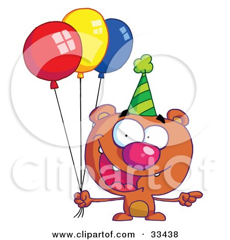 Birthday Bear In A Party Hat Pointing To The Right And Holding Colorful Party Balloons Posters, Art Prints