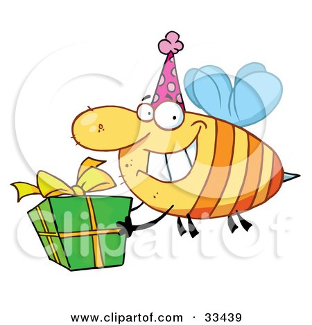 Happy Birthday Bee Wearing A Party Hat And Flying With A Gift Posters, Art Prints