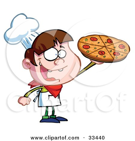 Clipart Illustration of a Little Pizza Boy Chef Displaying His Perfect Pepperoni Pizza Pie by Hit Toon