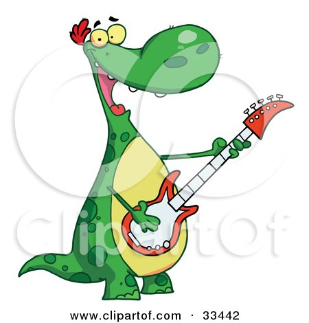Musical Green Dinosaur Rockin Out With A Guitar During A Music Concert Posters, Art Prints