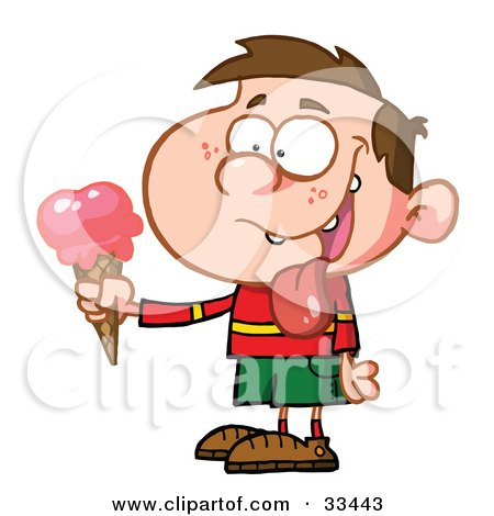 Clipart Illustration of a Little Boy Drooling Over His Delicious Strawberry Ice Cream On A Cone by Hit Toon