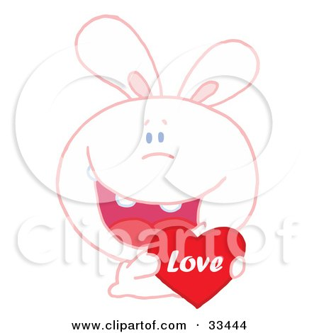 Clipart Illustration of a Loving White Bunny Rabbit Grinning And Holding A Red Love Heart Valentine by Hit Toon