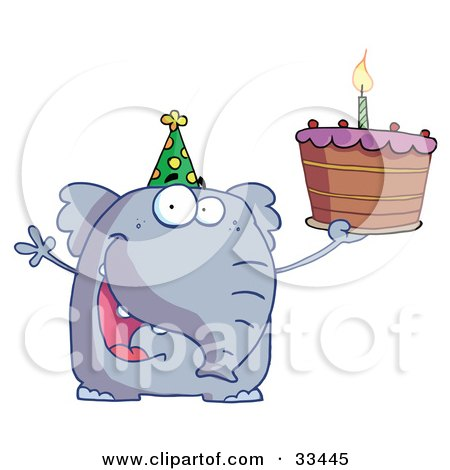 Clipart Illustration of a Happy Birthday Elephant In A Party Hat, Holding Up A Cake With A Lit Candle by Hit Toon